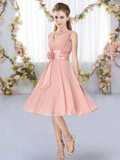 Pink Empire Hand Made Flower Dama Dress Lace Up Chiffon Sleeveless Knee Length