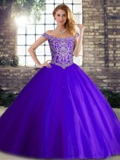 Fancy Off The Shoulder Sleeveless Tulle Quinceanera Dresses Beading Brush Train Lace Up