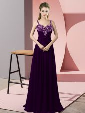 Dark Purple Sleeveless Chiffon Zipper for Prom and Party