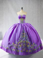 Delicate Floor Length Lavender Sweet 16 Quinceanera Dress Sweetheart Sleeveless Lace Up
