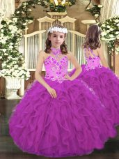 Purple Lace Up Little Girls Pageant Dress Embroidery and Ruffles Sleeveless Floor Length