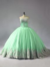 Eye-catching Apple Green Tulle Lace Up Sweetheart Sleeveless Sweet 16 Dress Court Train Appliques
