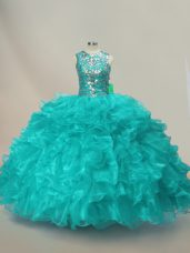 Floor Length Lace Up Quinceanera Gowns Aqua Blue for Sweet 16 and Quinceanera with Beading and Ruffles