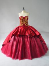 Wine Red Ball Gowns Satin and Tulle Sweetheart Sleeveless Beading and Embroidery Lace Up Quinceanera Dresses Court Train