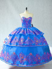 Custom Designed Floor Length Lace Up Vestidos de Quinceanera Blue for Sweet 16 and Quinceanera with Embroidery