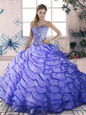Lavender Sweetheart Lace Up Beading and Ruffled Layers Sweet 16 Quinceanera Dress Brush Train Sleeveless
