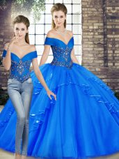 Discount Royal Blue Two Pieces Beading and Ruffles 15th Birthday Dress Lace Up Tulle Sleeveless Floor Length