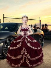 Great Sleeveless Satin Floor Length Lace Up Child Pageant Dress in Burgundy with Embroidery