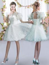High Class White Tulle Lace Up Court Dresses for Sweet 16 Short Sleeves Mini Length Lace