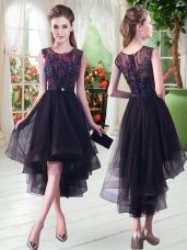 Black Prom Dress Prom and Party with Appliques Scoop Sleeveless Zipper