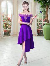 Stunning Purple Sleeveless Asymmetrical Appliques Zipper Dress for Prom