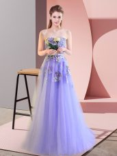 Hot Sale Lavender Sweetheart Lace Up Appliques Prom Dresses Sleeveless