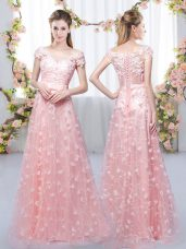 Pink Cap Sleeves Appliques Floor Length Wedding Guest Dresses