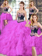 Sumptuous Sweetheart Sleeveless Lace Up 15th Birthday Dress Fuchsia Tulle