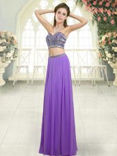 Lavender Backless Evening Dress Beading Sleeveless Floor Length