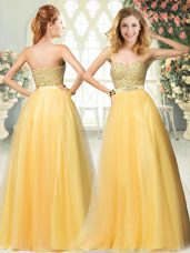 Latest Floor Length Gold Dress for Prom Sweetheart Sleeveless Zipper