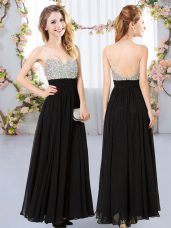 Fantastic Black Sleeveless Chiffon Backless Bridesmaid Dress for Prom and Party and Wedding Party