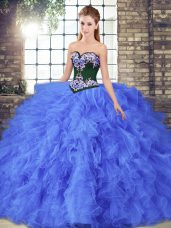 Sweetheart Sleeveless Tulle Quince Ball Gowns Beading and Embroidery Lace Up