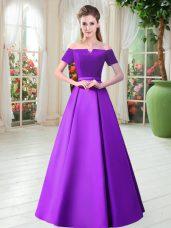 Belt Prom Dresses Purple Lace Up Short Sleeves Floor Length