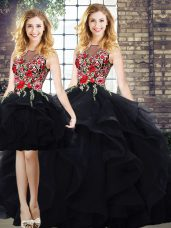 Sexy Black Tulle Lace Up Bateau Sleeveless Floor Length Sweet 16 Dress Beading and Embroidery