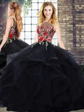 Customized Embroidery and Ruffles Quinceanera Dresses Black Zipper Sleeveless Floor Length