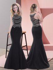 Chic Black Satin Zipper Homecoming Dress Sleeveless Floor Length Beading