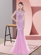Tulle Cap Sleeves Dress for Prom Sweep Train and Beading