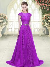 Beauteous Purple Cap Sleeves Sweep Train Lace and Appliques and Pick Ups Prom Dresses