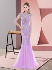 Glorious Cap Sleeves Tulle Sweep Train Zipper in Lilac with Beading and Lace