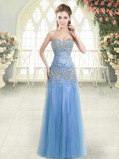 Blue Tulle Zipper Sweetheart Sleeveless Floor Length Evening Dresses Beading