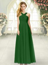 Exquisite Green Chiffon Zipper Straps Sleeveless Floor Length Prom Evening Gown Ruching