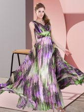 Gorgeous V-neck Sleeveless Formal Dresses Floor Length Pattern Multi-color Printed