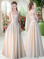 Captivating Half Sleeves Satin Floor Length Lace Up Prom Gown in Champagne with Lace