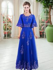 Cute Half Sleeves Floor Length Lace Lace Up Prom Party Dress with Royal Blue