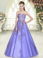 Custom Made Lavender Sweetheart Neckline Appliques Evening Dress Sleeveless Lace Up