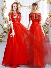 Comfortable Red Zipper Quinceanera Dama Dress Appliques Short Sleeves Floor Length