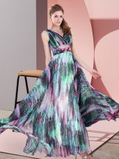 Cheap V-neck Sleeveless Printed Evening Party Dresses Pattern Lace Up