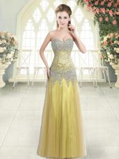 Ideal Floor Length Gold Prom Evening Gown Sweetheart Sleeveless Zipper
