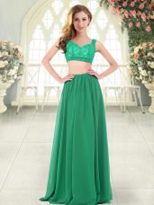 Green Two Pieces Beading and Lace Evening Dress Zipper Chiffon Sleeveless Floor Length