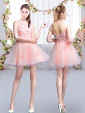 Latest Mini Length Pink Dama Dress for Quinceanera Tulle Half Sleeves Appliques