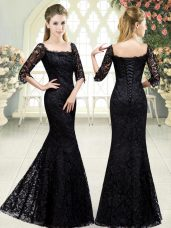 Black Lace Up Prom Gown Beading and Lace Half Sleeves Sweep Train
