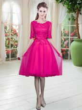 Sumptuous Scoop Half Sleeves Prom Party Dress Knee Length Lace Fuchsia Tulle