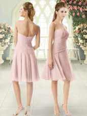 Custom Designed Pink Sleeveless Ruching Knee Length Prom Gown