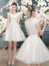 White Cap Sleeves Mini Length Lace Zipper Prom Gown