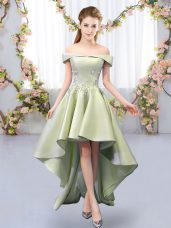 Yellow Green Quinceanera Court Dresses Prom and Party and Wedding Party with Appliques Off The Shoulder Sleeveless Lace Up