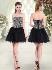 Pretty Mini Length Lace Up Dress for Prom Black for Prom and Party with Beading
