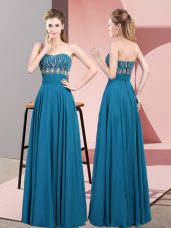 Blue Prom Dresses Prom and Party and Military Ball with Beading Strapless Sleeveless Lace Up