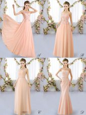 Colorful Scoop Sleeveless Bridesmaid Dresses Floor Length Lace Peach Chiffon