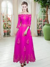 Deluxe Fuchsia Lace Up Off The Shoulder Lace and Appliques Prom Dress Tulle 3 4 Length Sleeve