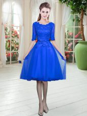Modest Royal Blue Scoop Neckline Lace Prom Gown Half Sleeves Lace Up
